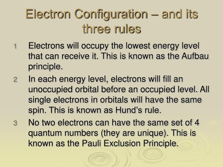 Electron Configuration – and its three rules