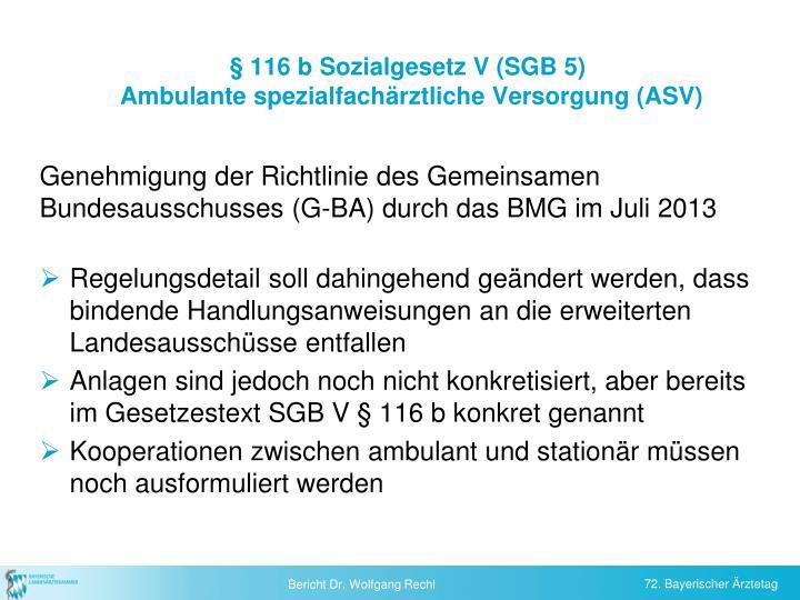 § 116 b Sozialgesetz V (SGB 5)