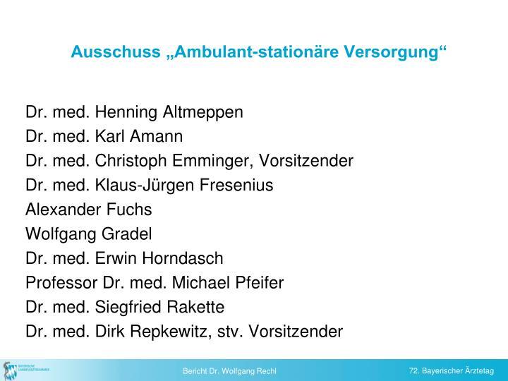 """Ausschuss """"Ambulant-stationäre Versorgung"""""""
