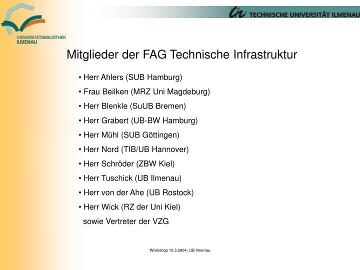 Mitglieder der FAG Technische Infrastruktur