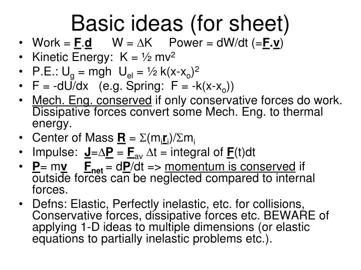 Basic ideas (for sheet)