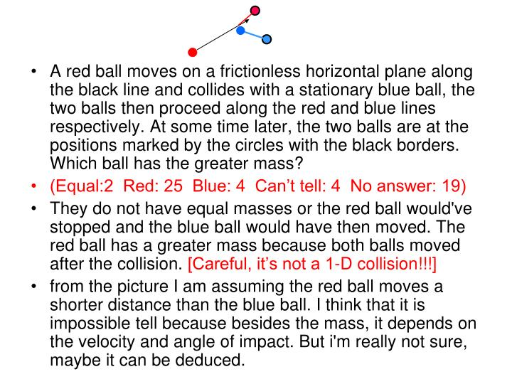 A red ball moves on a frictionless horizontal plane along the black line and collides with a stationary blue ball, the two balls then proceed along the red and blue lines respectively. At some time later, the two balls are at the positions marked by the circles with the black borders. Which ball has the greater mass?