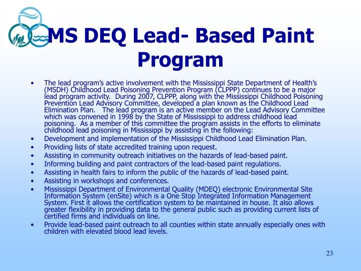 MS DEQ Lead- Based Paint Program