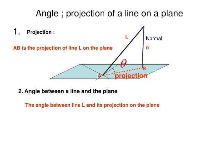 Angle ; projection of a line on a plane