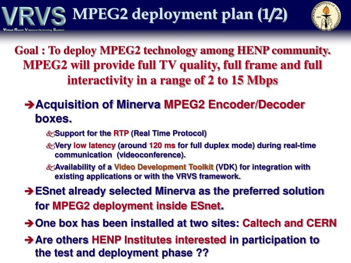 MPEG2 deployment plan (1/2)