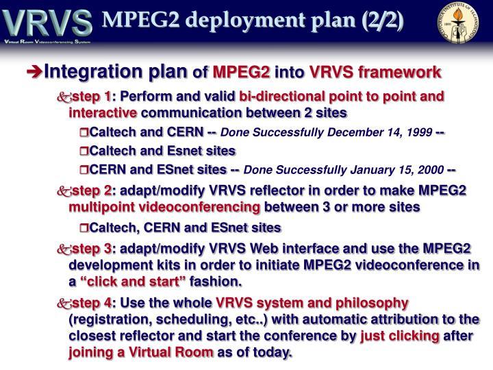 MPEG2 deployment plan (2/2)
