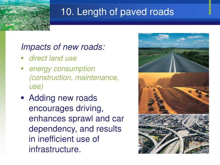 10. Length of paved roads