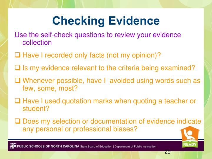 Use the self-check questions to review your evidence collection