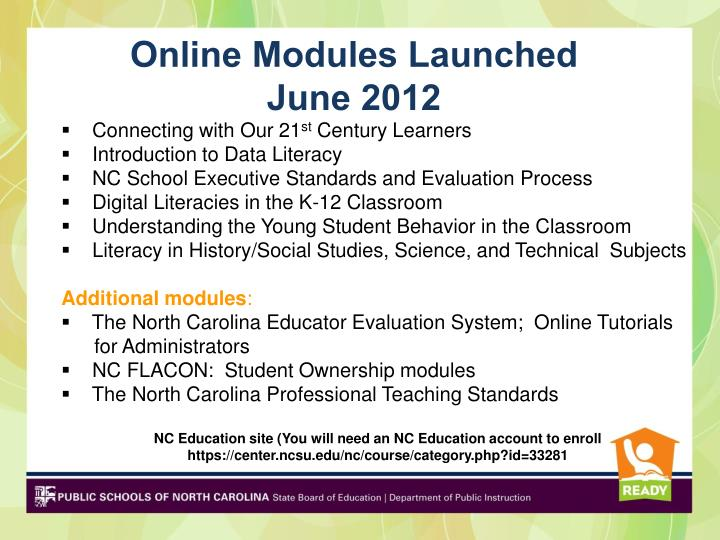Online Modules Launched