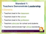 standard 1 teachers demonstrate leadership