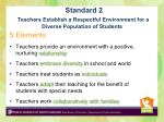 standard 2 teachers establish a respectful environment for a diverse population of students