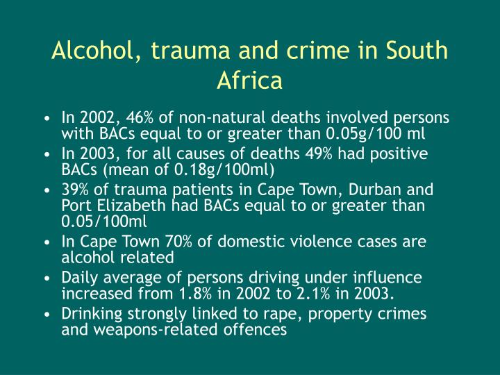 Alcohol, trauma and crime in South Africa