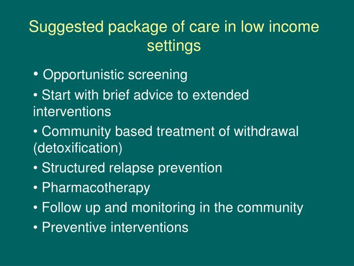 Suggested package of care in low income settings