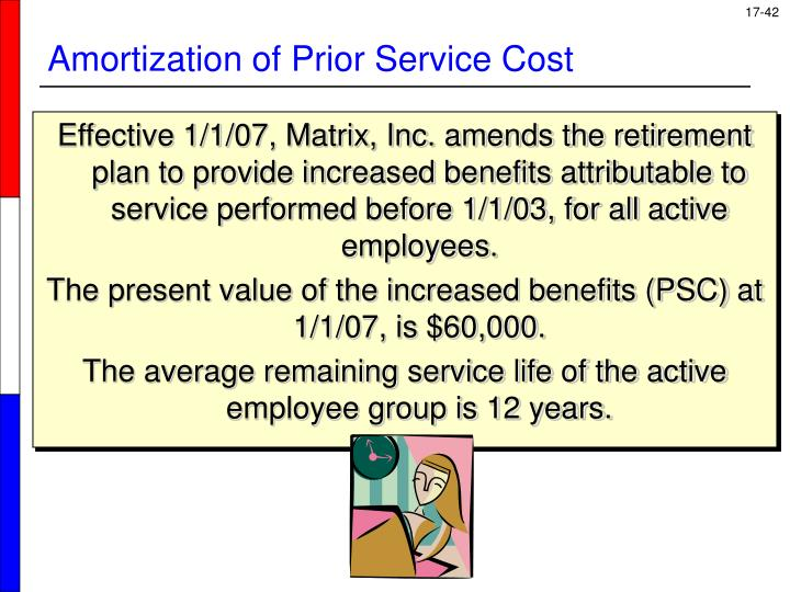 Effective 1/1/07, Matrix, Inc. amends the retirement plan to provide increased benefits attributable to service performed before 1/1/03, for all active employees.