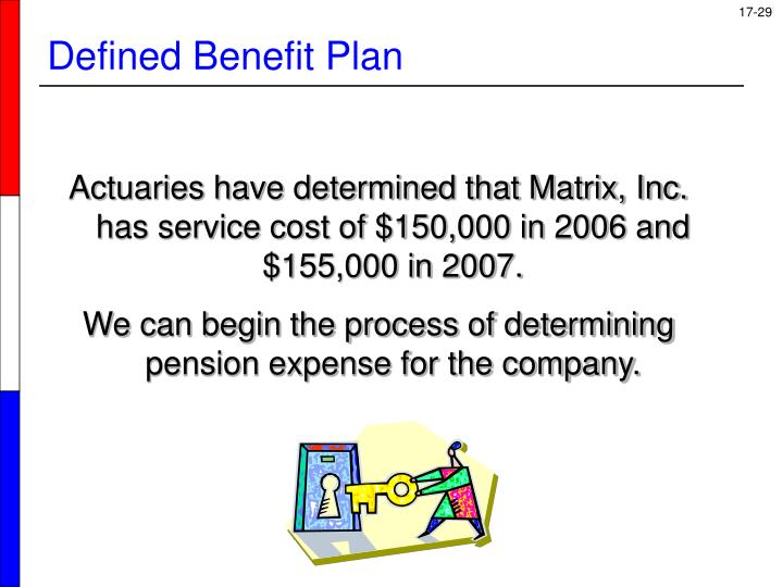 Actuaries have determined that Matrix, Inc. has service cost of $150,000 in 2006 and $155,000 in 2007.