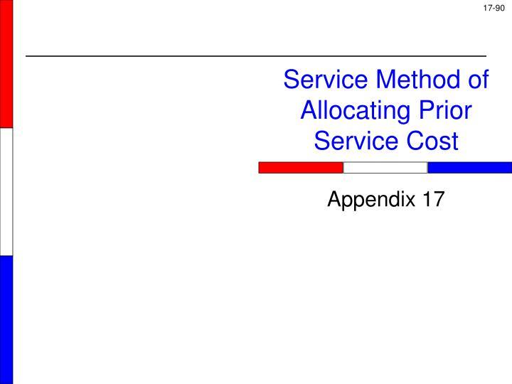 Service Method of Allocating Prior Service Cost
