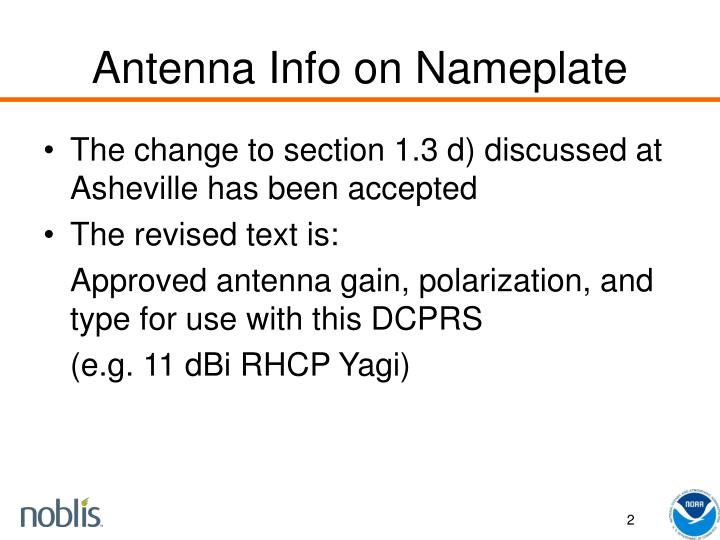 Antenna info on nameplate