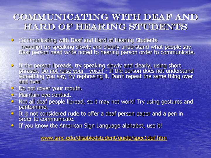 Communicating with Deaf and Hard of Hearing Students