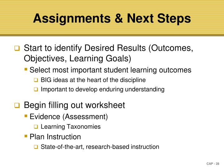 Assignments & Next Steps