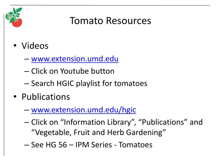 Tomato Resources