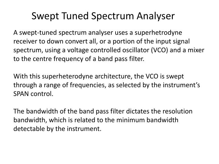 Swept Tuned Spectrum Analyser