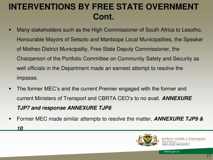 INTERVENTIONS BY FREE STATE OVERNMENT Cont.