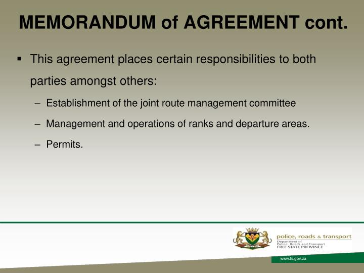 MEMORANDUM of AGREEMENT cont.
