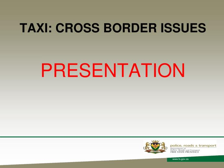 Taxi cross border issues