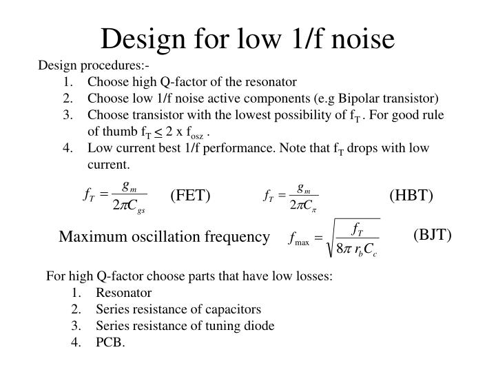 Design for low 1/f noise
