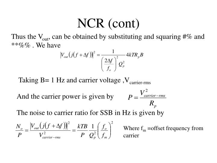 NCR (cont)