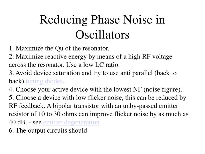 Reducing Phase Noise in Oscillators