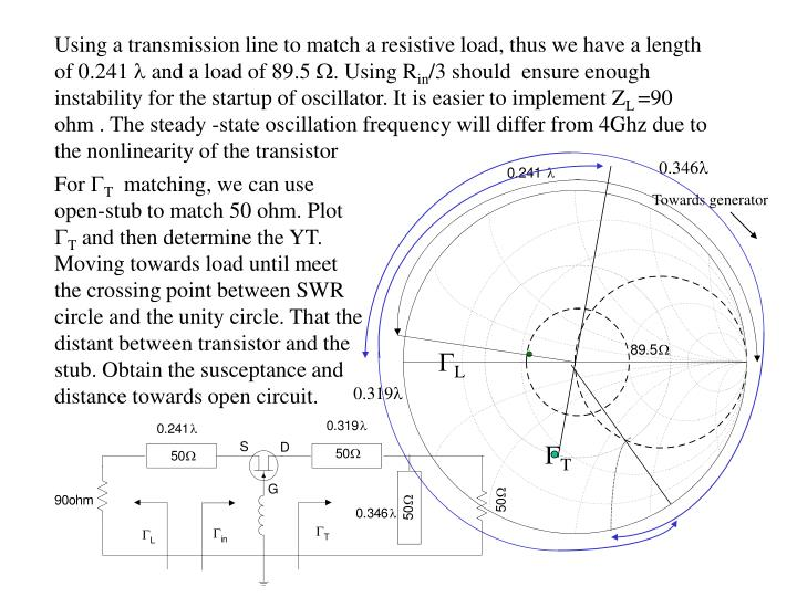 Using a transmission line to match a resistive load, thus we have a length of 0.241