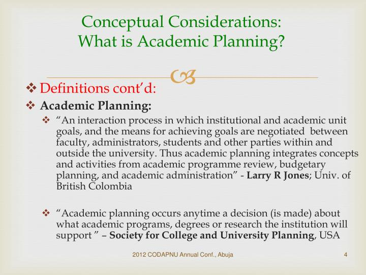 Conceptual Considerations: What is Academic Planning?