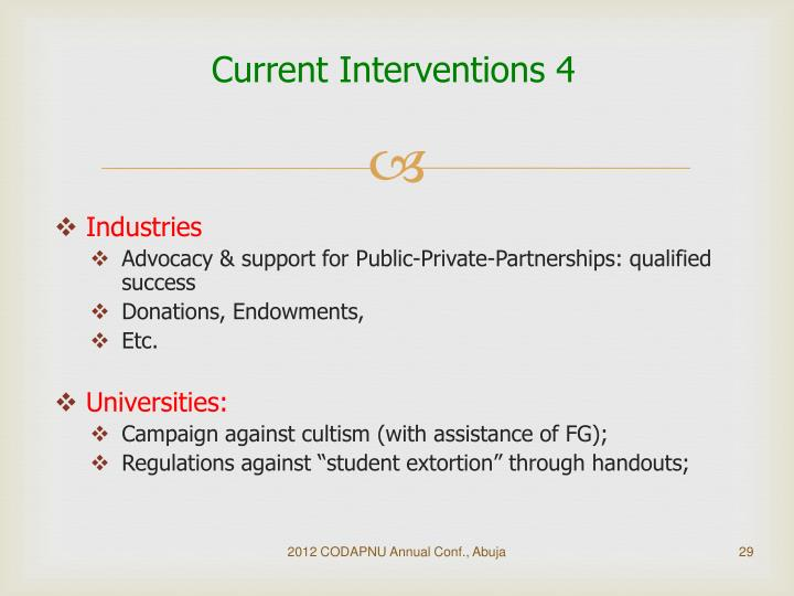 Current Interventions 4