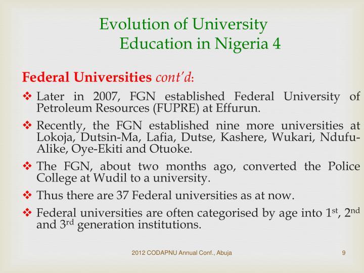 Evolution of University Education in Nigeria 4