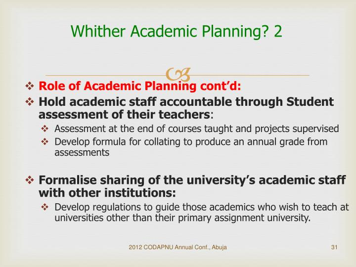 Whither Academic Planning? 2