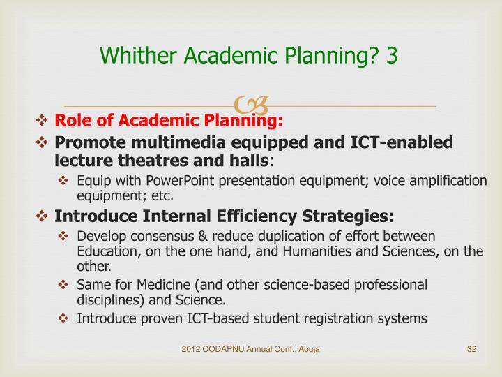 Whither Academic Planning? 3