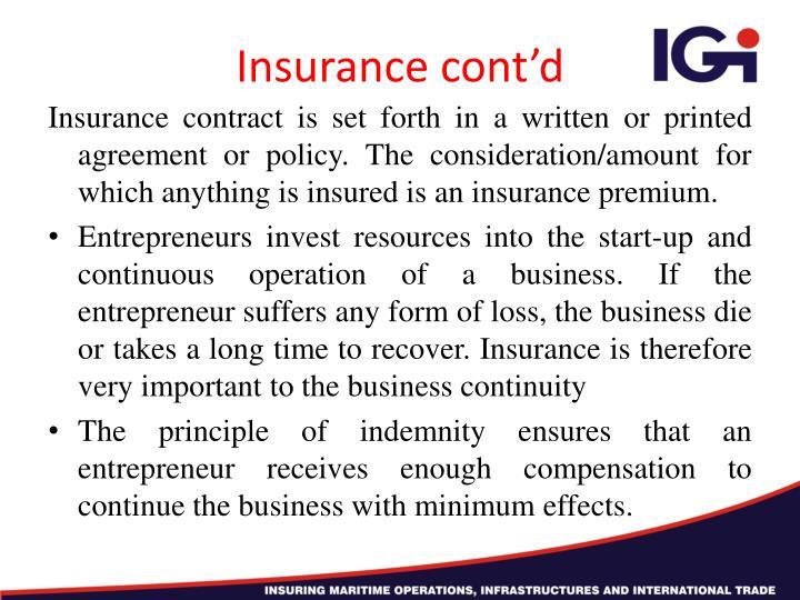 Insurance cont'd