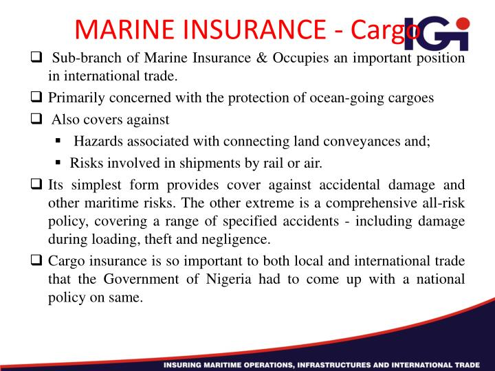 MARINE INSURANCE - Cargo