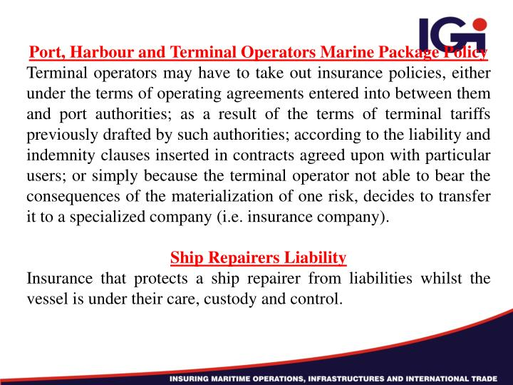 Port, Harbour and Terminal Operators Marine Package Policy