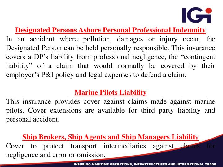 Designated Persons Ashore Personal Professional Indemnity