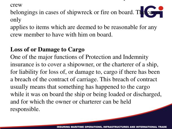 Loss of Crew Members' Personal Effects