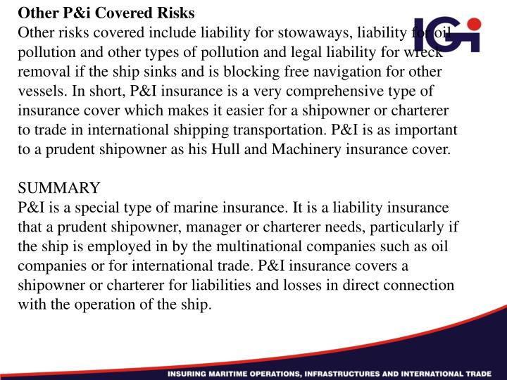 Other P&i Covered Risks