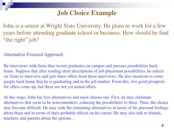 Job Choice Example