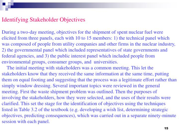 Identifying Stakeholder Objectives