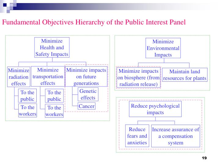 Fundamental Objectives Hierarchy of the Public Interest Panel