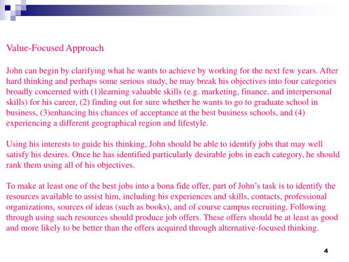 Value-Focused Approach