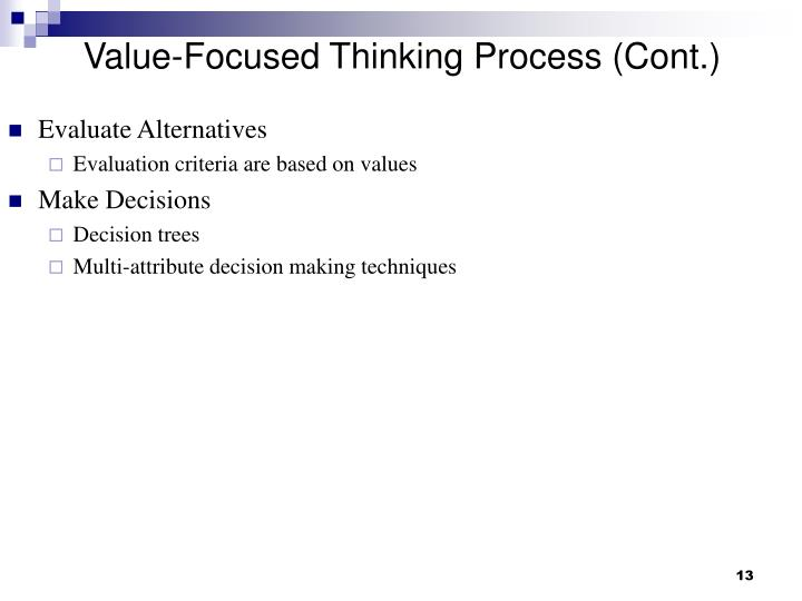 Value-Focused Thinking Process (Cont.)