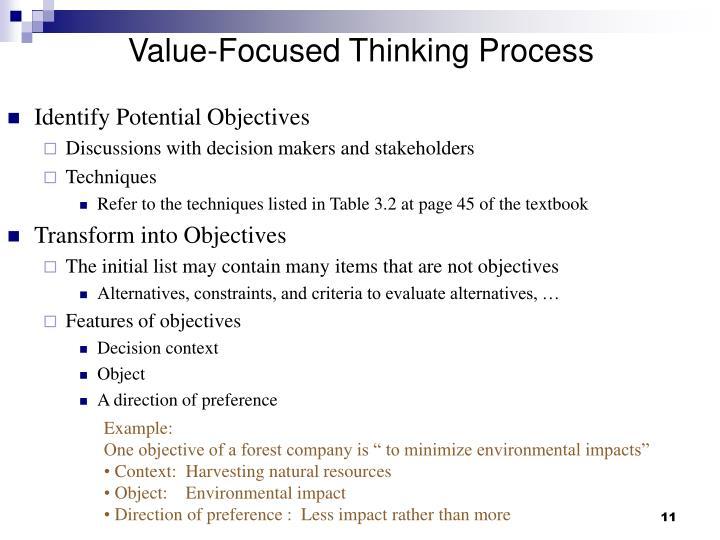 Value-Focused Thinking Process