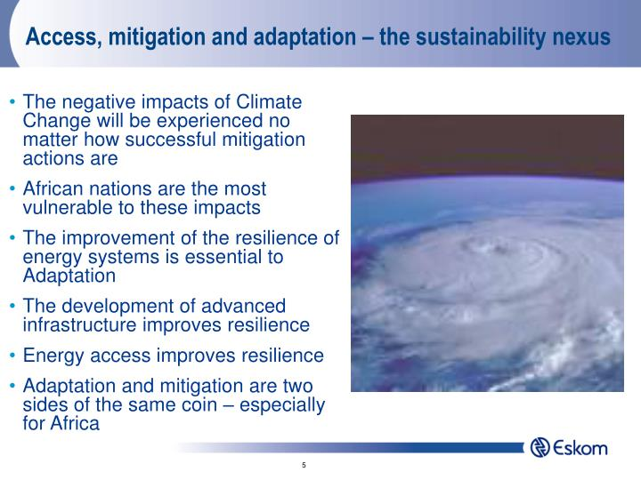 Access, mitigation and adaptation – the sustainability nexus